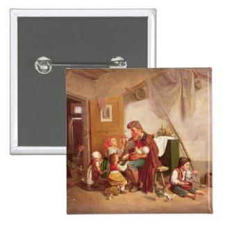 La familia viuda, siglo XIX Pin Cuadrada 5 Cm
