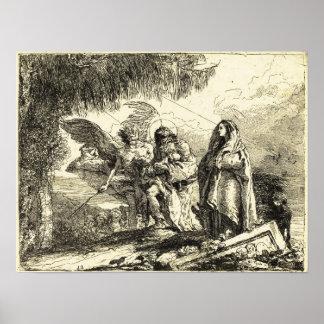La familia Vuelo-Santa que camina con Ángel-Tiepol Impresiones