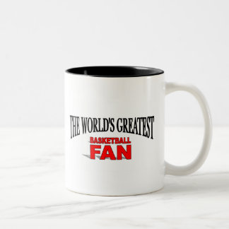 La fan del baloncesto más grande del mundo taza de café de dos colores