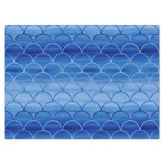 La fan pintada azul soñador forma el modelo papel de seda