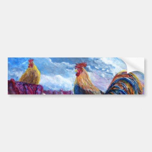 La fantasía hace para creer pollos y las pastillas pegatina de parachoque