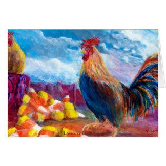 La fantasía hace para creer pollos y las pastillas tarjeta de felicitación