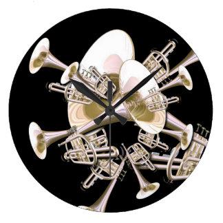 La fantasía toca la trompeta reloj de pared de los