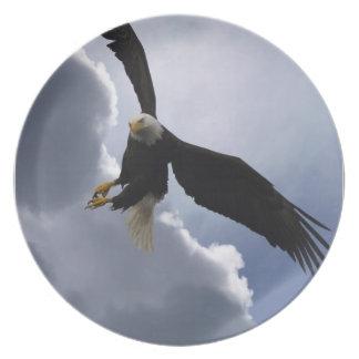 La fauna de Eagle calvo inspirada sea placa impres Platos