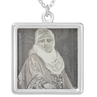 La Favorita'- Woman with a Veil Square Pendant Necklace