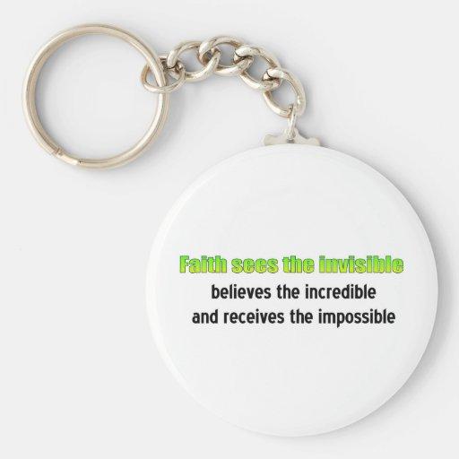 La fe considera el invisible llavero redondo tipo pin