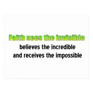 La fe considera el invisible tarjetas postales