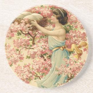 la fe de pascua florece la jerarquía rosada de la posavasos personalizados