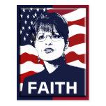 La fe de Sarah Palin carda 2 echados a un lado Postal