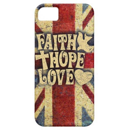 La fe, el amor y la esperanza del Union Jack apena iPhone 5 Case-Mate Carcasa
