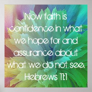 La fe es 11:1 de los hebreos del verso de la bibli póster