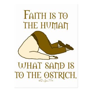 La fe es arena tarjeta postal