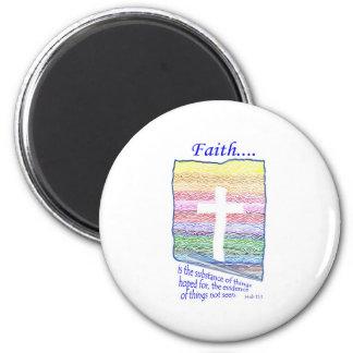 La fe es sustancia de las cosas esperadas… imán redondo 5 cm