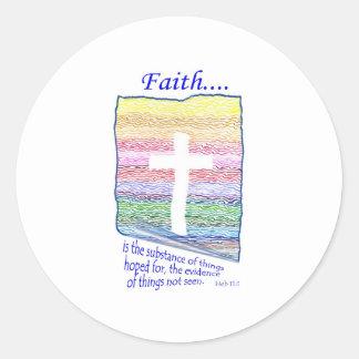 La fe es sustancia de las cosas esperadas… pegatina redonda