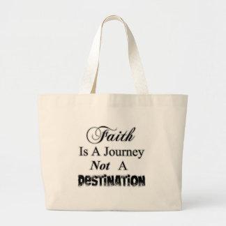 La fe es un viaje, no cristiano del destino bolsa tela grande