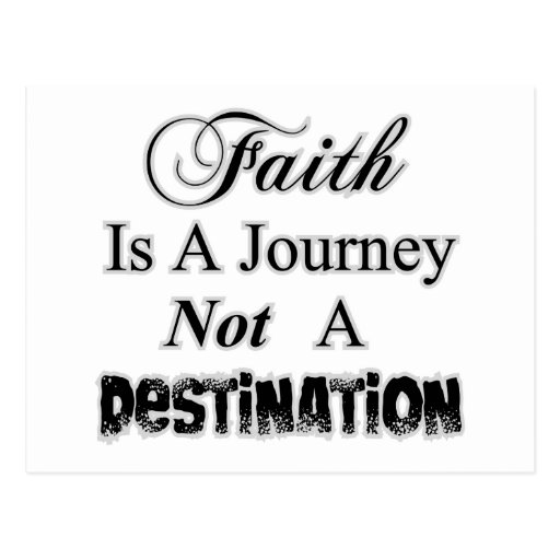 La fe es un viaje, no cristiano del destino postal