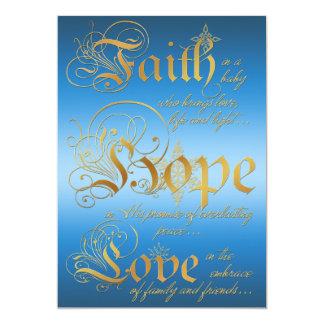 """La fe, esperanza, ama el azul, tarjeta de Navidad Invitación 5"""" X 7"""""""