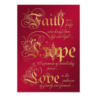 """La fe, esperanza, ama el rojo, tarjeta de Navidad Invitación 5"""" X 7"""""""