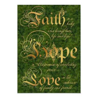 """La fe, esperanza, ama la tarjeta de Navidad de la Invitación 5"""" X 7"""""""