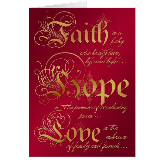 La fe, esperanza, ama rojo y la tarjeta de Navidad