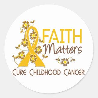 La fe importa cáncer de 3 niñeces pegatina redonda