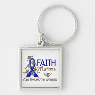 La fe importa la artritis reumatoide 3 llavero cuadrado plateado