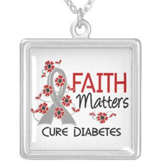 La fe importa la diabetes 3 colgante cuadrado