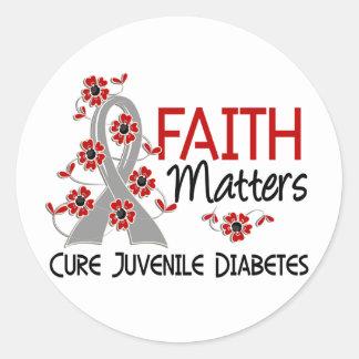 La fe importa la diabetes juvenil 3 pegatina redonda