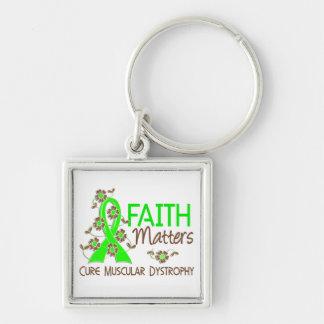 La fe importa la distrofia muscular 3 llavero cuadrado plateado