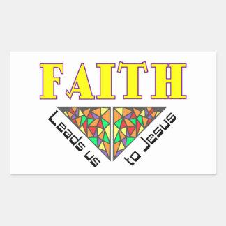 La fe nos lleva a Jesús Pegatina Rectangular