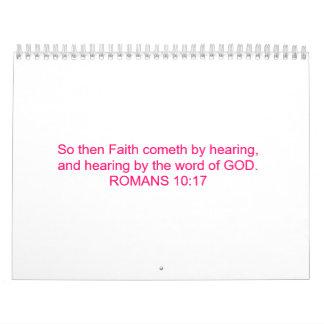 La fe viene oyendo la palabra de DIOS. Calendario De Pared