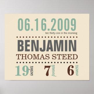 La fecha del nacimiento del bebé detalla el poster