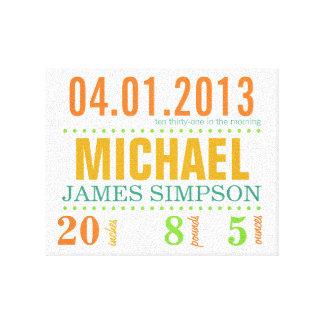 La fecha del nacimiento del bebé detalla la lona - impresión en lona