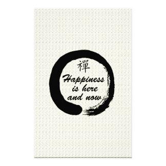 La felicidad aquí y ahora está papeleria personalizada