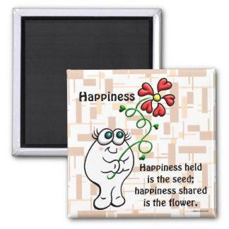 La felicidad compartida es la flor imán cuadrado