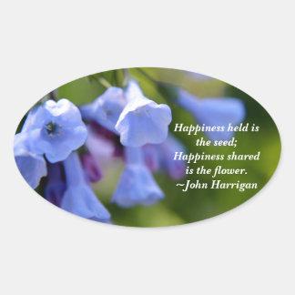 La felicidad compartida es una flor pegatina ovalada