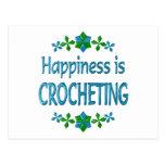 La felicidad Crocheting Postal