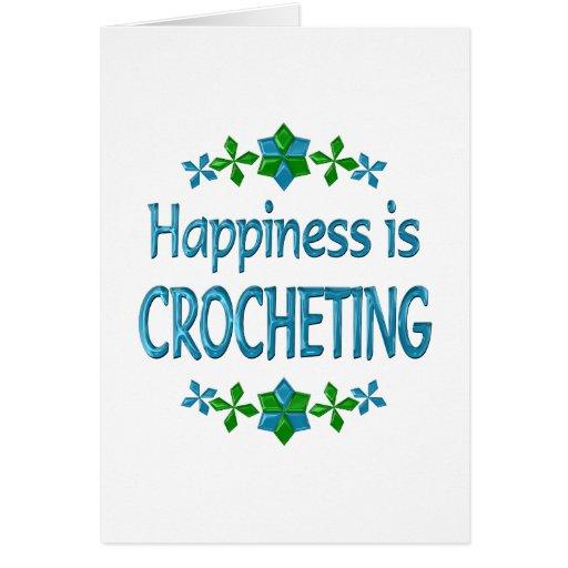 La felicidad Crocheting Tarjetón