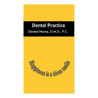La felicidad de la cita es dentista limpio de la tarjetas de visita