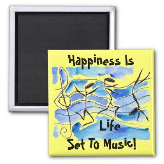 ¡La felicidad de las notas musicales es vida fijad Iman Para Frigorífico