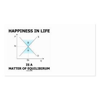 La felicidad en vida es una cuestión de equilibrio tarjetas de visita