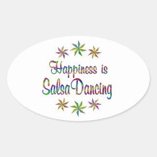 La felicidad es baile de la salsa pegatina ovalada