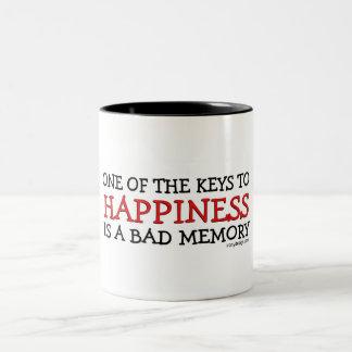 La felicidad es el mún decir de la memoria taza de dos tonos
