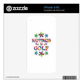 La felicidad es golf iPhone 4S calcomanía