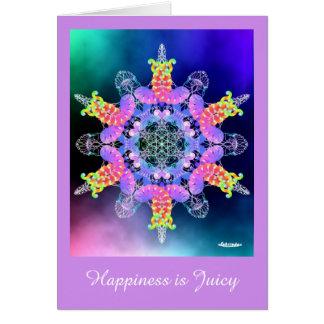 La felicidad es jugosa tarjeta de felicitación