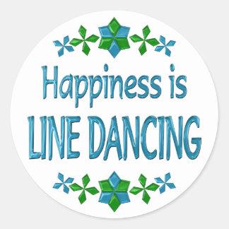 La felicidad es línea baile pegatinas redondas