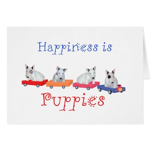 La felicidad es perritos - perritos blancos de bul tarjeta de felicitación