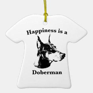 La felicidad es un Doberman Adorno De Cerámica En Forma De Playera