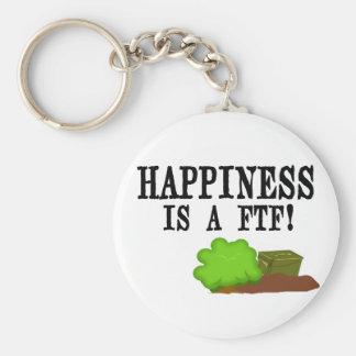 ¡La felicidad es un FTF! Llavero Redondo Tipo Pin