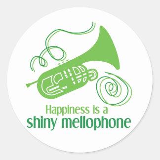 La felicidad es un Mellophone brillante Pegatinas Redondas